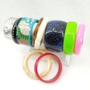 Lot of 10 Vintage Retro Bangle Bracelets Cuff Wide